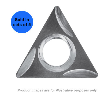5 PAK TRIANGLE SHAPE ALTiN+ COATED 60 DEGREE ANGLE 0.250 IC 0.096 THICKNESS WITH A 0.015 RADIUS AND GROUND CHIP CONTROL CARBIDE INSERTS AND MATCHING SCREWS